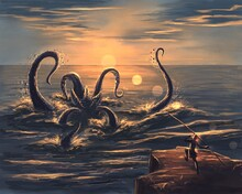 Kraken In The Sea At Sunset