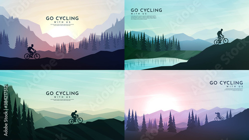 Obraz Travel concept of discovering, exploring and observing nature. Mountain bike. Cycling. Adventure tourism. Minimalist graphic poster. Polygonal flat design for book cover, poster, brochure, magazine - fototapety do salonu
