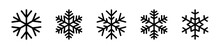 Set Of Snowflake Icon, Black Snowflakes, Ice Crystal Winter Symbol, Christmas Icon Logo Snow, Santa Claus, Xmas Cartoon Character