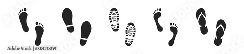 Cuadros en Lienzo Set of different human footprints