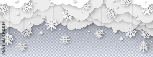Foto Falling snow on transparent background in paper cut style