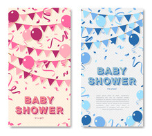 It's A Girl And Boy, Baby Shower Vertical Poster Set, Invitation Or Banner With Blue And Pink Typography Design, Balloons And Bunting. Vector Illustration With Retro Light Bulbs Font.