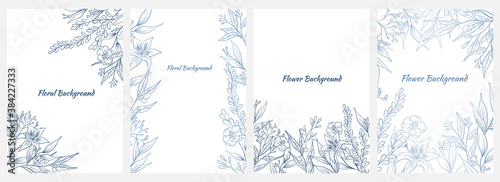 Fototapeta Collection of cute floral banner