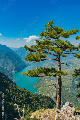 Perucac lake and river Drina from Tara mountain in Serbia