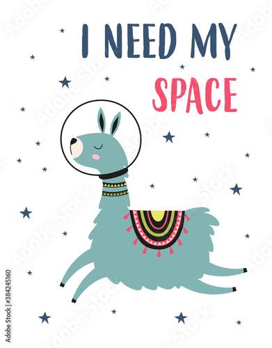 Naklejka premium card of llama and space, vector illustration