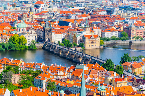 Photo Charles Bridge and Vltava River in Prague