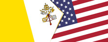 Vatican City And USA Flags, Two Vector Flags.