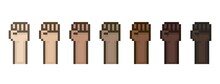 Pixel Art 8-bit Raised Fists Set With Different Skin Color, Tone - Editable Isolated Vector Illustration