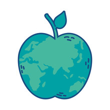 World Planet Earth With Apple Shape