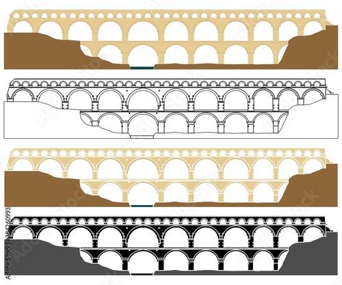 Tableau sur Toile Pont du Gard, aqueduct in France.