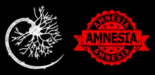 Grunge Amnesia Seal And Bright Web Network Neuron With Glare Spots