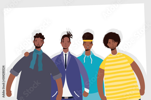 Fototapeta group of afro men characters obraz na płótnie