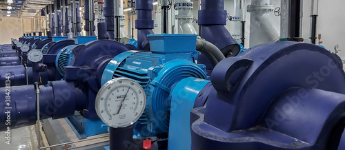 Fotografie, Obraz Electric motors driving water pumps.