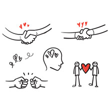 Hand Drawn Friendship And Love Vector Line Icons Set. Relationship, Mutual Understanding, Mutual Assistance, Interaction. Doodle Style