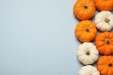 Different Ripe Pumpkins On Lig...