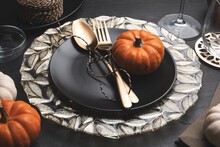 Autumn Table Setting With Gold...