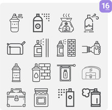 Simple Set Of Expended Related Lineal Icons.