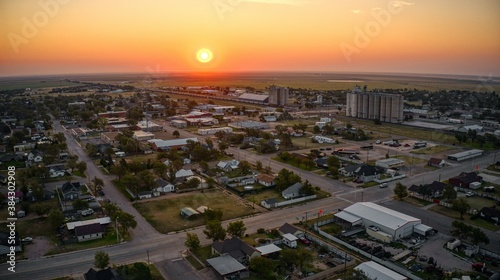 Fototapeta Aerial View of Sunrise in Stratford, Texas obraz