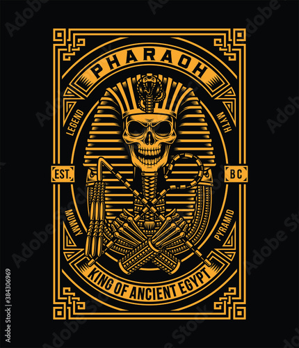 Fotografie, Tablou Pharaoh Skull Vector Illustration On Black