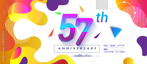 Foto 57th years anniversary logo, vector design birthday celebration with colorful geometric background and circles shape