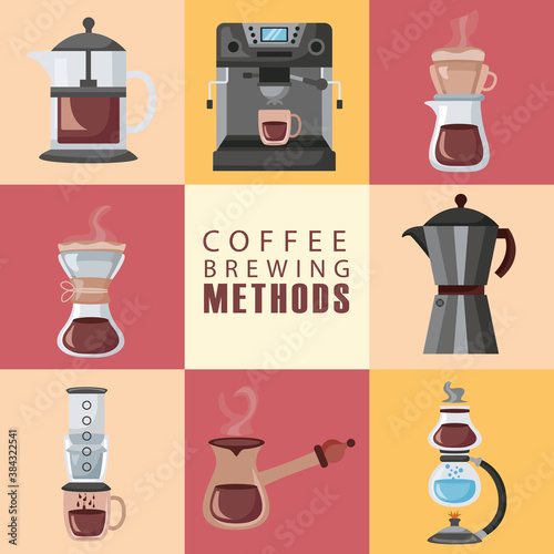 Leinwand Poster coffee brewing methods poster lettering and set icons