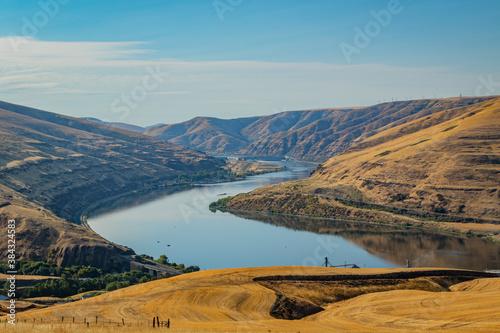 Amazing landscape -  big blue river among hills Wallpaper Mural