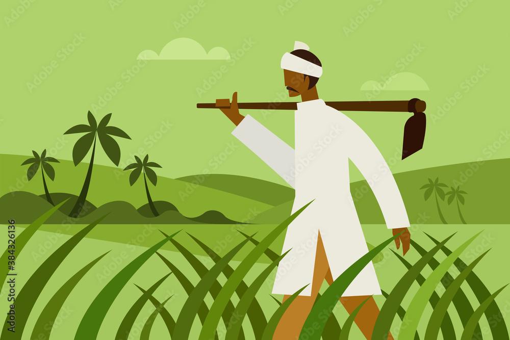 Fototapeta A farmer holding a spade walks through a farm