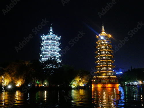 Traditional pagodas by night Canvas Print