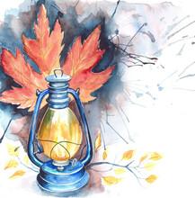 Watercolor Oil Lamp