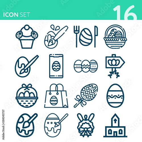 Photo Simple set of 16 icons related to esther