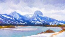 Impressionnisme. Parc National De Jasper Dans L'Alberta à La Fin De L'automne. Canada