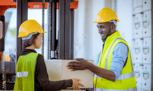 Industry engineer and  worker under inspection and checking production process on factory station by laptop Fototapet