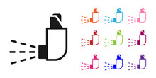 Black Inhaler Icon Isolated On...