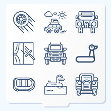 Simple Set Of 9 Icons Related To Tires