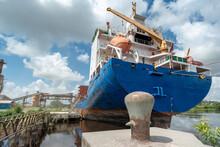 Ship Moored At Pier Under Load...