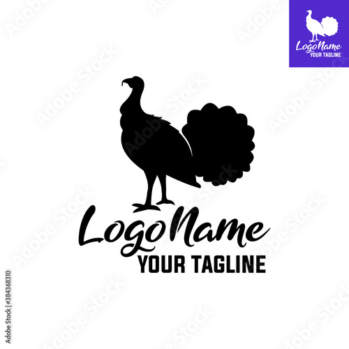 black big male turkey logo vector illustrations Fototapet