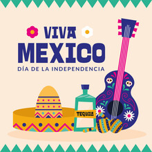 Viva Mexico Dia De La Independencia With Hat Tequila And Guitar Vector Design