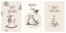 Set Of Christmas Greeting Cards, Flyers. New Year Watercolor Illustrations. Deer, Christmas Tree, Owl