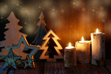 Christmas Card With Candles, S...