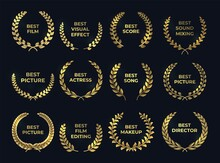 Golden Laurel Or Palm Wreath. Realistic Cinema Awards, Leaf Shapes Winner Prize. Isolated Gold Branches And Nomination Text. Film, Directing, Music Nominate At Tradition Ceremony. Vector Premium Set