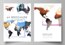 Vector Layout Of A4 Cover Mockups Templates For Brochure, Flyer Layout, Cover Design, Book Design, Brochure Cover. Design Template In The Form Of World Maps And Colored Frames, Insert Your Photo.