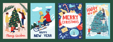 Christmas Postcards With Peopl...