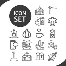 Simple Set Of Cross Related Lineal Icons.