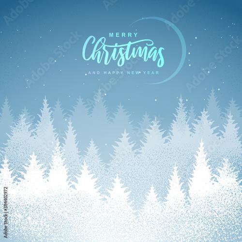 Fototapeta Winter seasonal holiday Christmas background. Christmas greeting card with winter forest. Vector illustration obraz