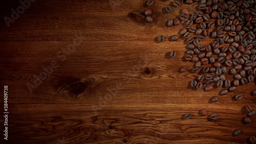 Coffee Beans on Wood Oak background