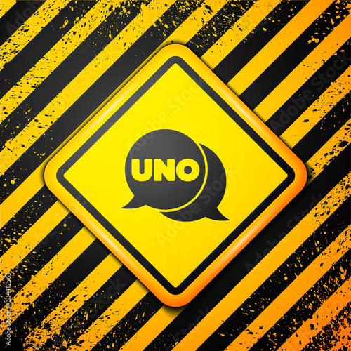 Fotomural Black Uno card game icon isolated on yellow background