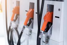 Fuel Pump Nozzle Closeup In Ga...