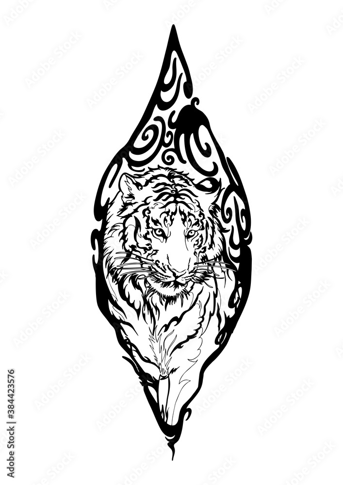 Fototapeta Tiger in Wood seal tribal illustration doodle drawing motif  tattoo vector with white background
