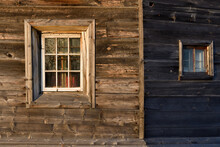 Windows On The Wooden Wall. Po...