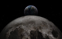Earth Rises Above Moon Surface...